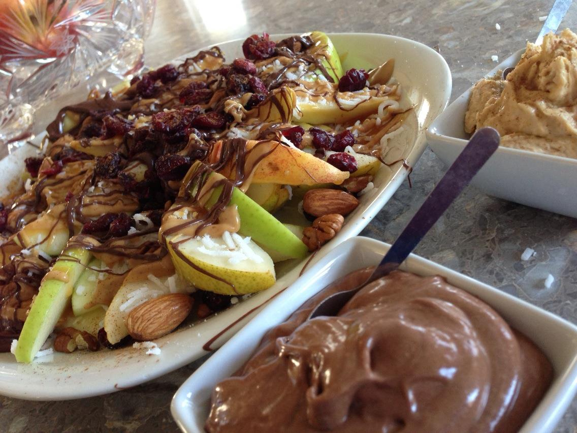 Apple Nachos with Nutella and Peanut Butter Dipping Sauce