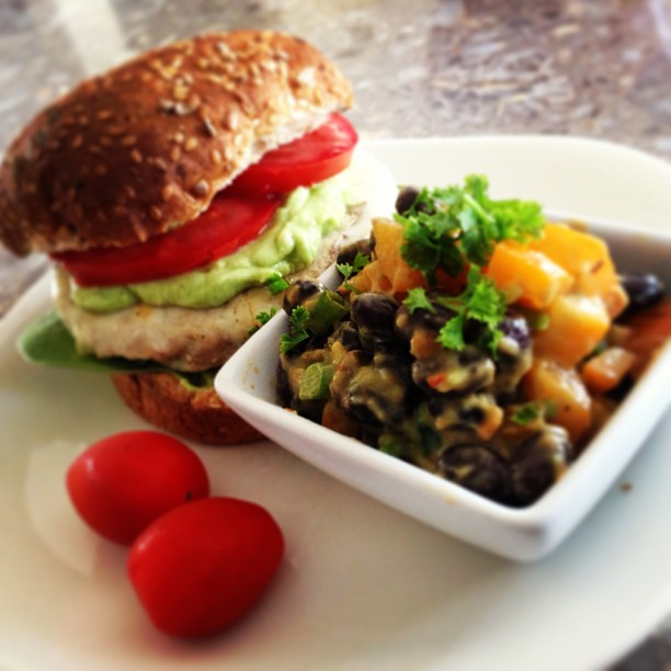 Chicken Burger with Avo Dressing