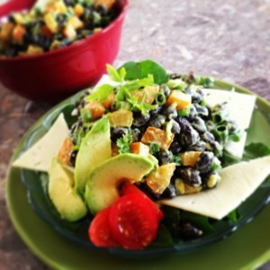Black Bean and Pepper Salad with Avo Dressing