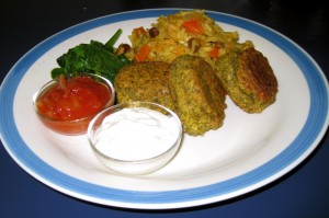 Bombay Rice, Falafel, Sauteed Spinach