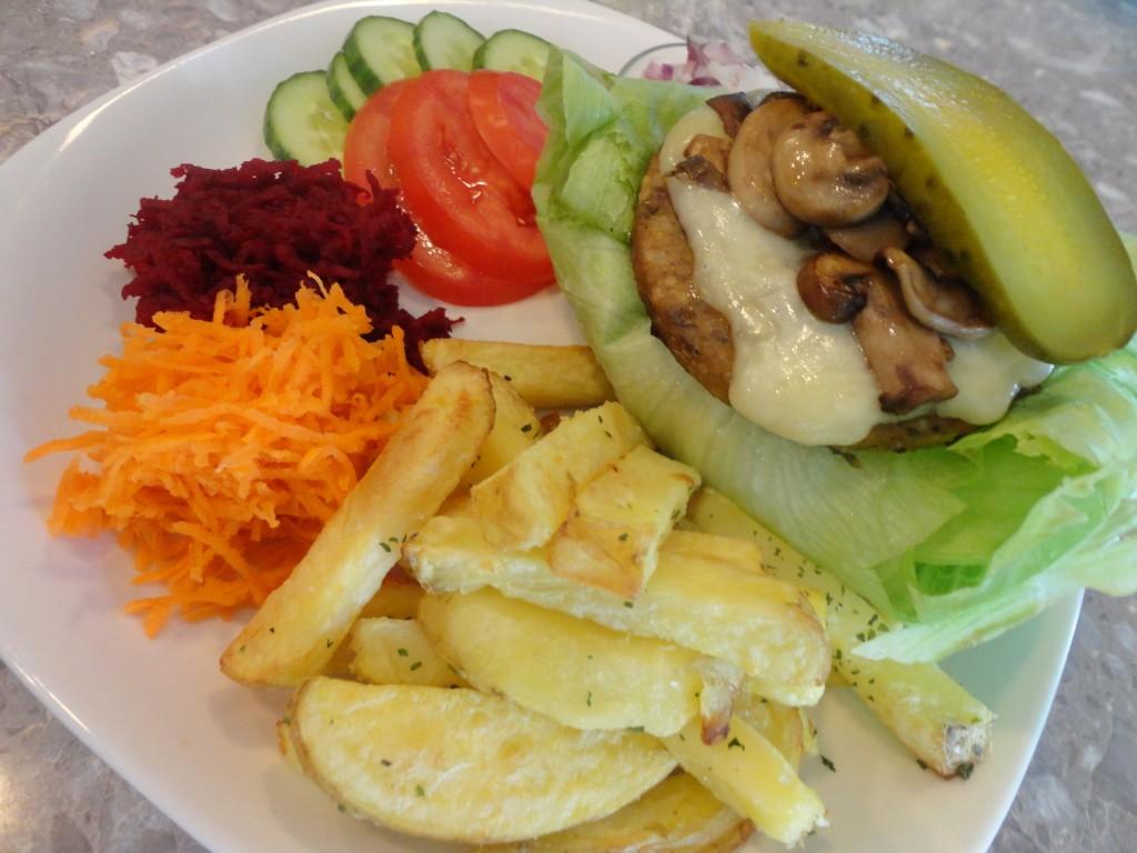 lettuce wrapped mozza and mushroom veggie burger