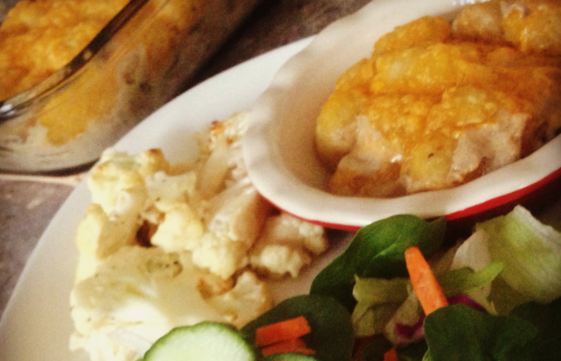 Tater Tot Casserole with Roasted Cauliflower and Garden Salad