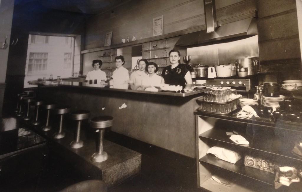 Katie Schmidbauer in her little diner, downtown Montreal.