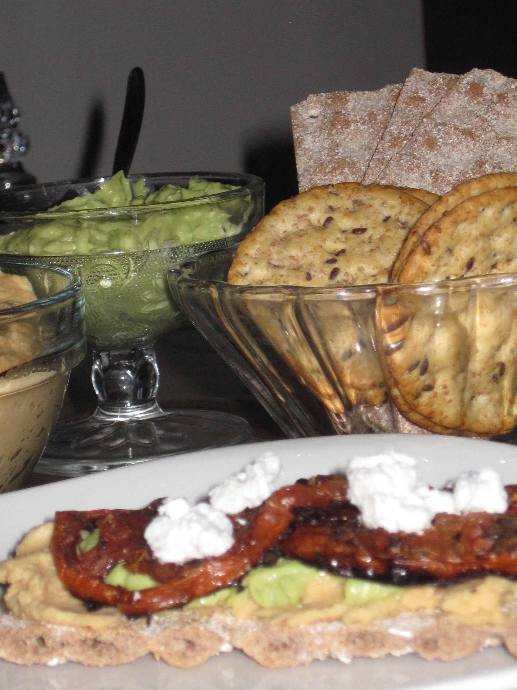 Hummus, Avo, Roasted Tomatoes and Feta