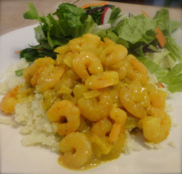 Low Carb Curried Shrimp on a bed of Mock Fried Rice