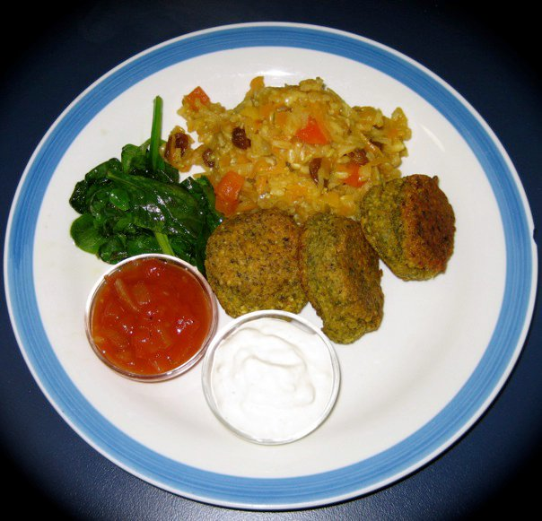 falafel and bombay rice with wilted spinach